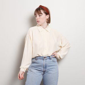 90s/2000s Ivory Silk Button Up